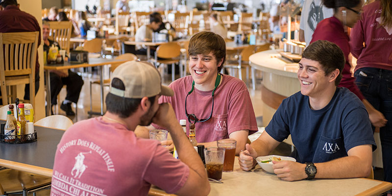 Students sitting at table in Cafeteria